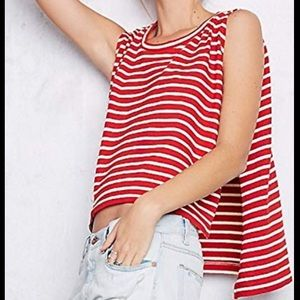We The Free People Hi Low Pullover Striped Tank